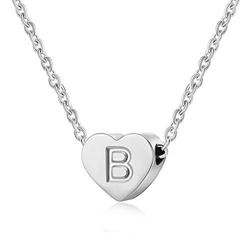AFSTALR Heart Letter Initial Necklace for Women - Silver Girls Charm Pendant Personalized Kids Child Jewellry Gifts, Silver Letter B Necklace
