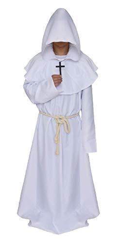 EVRYLON Mönch Saio Kostüm mit Kapuze Mönch mittelalterlicher Priester Mann Frau Verkleidung Karneval Accessoires Größe S Weiß Unisex Halloween Cosplay