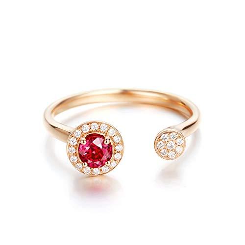 Daesar Anillo Compromiso Mujer,Anillos de Oro Rosa 18 Kilates Redondo Rubí Rojo 0.354ct Diamante Blanco 0.085ct Talla 8