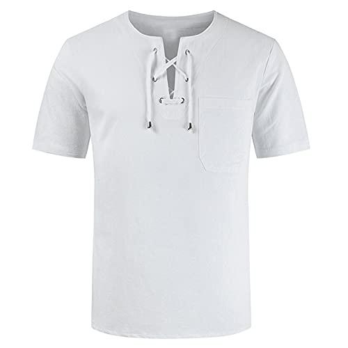 Camisetas Manga Corta Hombre Originales con Cordón Diseños Moda 2021 Camiseta Deporte Hombre Lino y algodón Transpirable cómodo Ropa Hombre Verano Diario t Shirt Tops for Men Manga Corta Casual