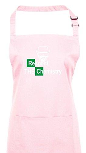 Delantal, Breaking Bad Colour blanco Cook Respect the Chemistry, Chemistry Walter, de culto, algodón, rosa, 72 cm x 86 cm