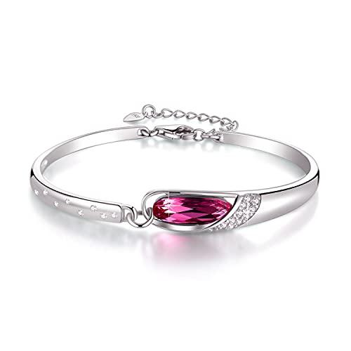 Cristal Austriaco Pulsera De Las Señoras 925 Sterling Silver Diamante Longitud Ajustable...