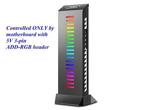 DEEPCOOL GH-01 ADD-RGB Halterung für Grafikkarte, verstellbare RGB-Beleuchtung, unterstützt bis zu 5 kg, versteckte Kabel, Steuerung über Basisplatte mit 5 Pin 3 V