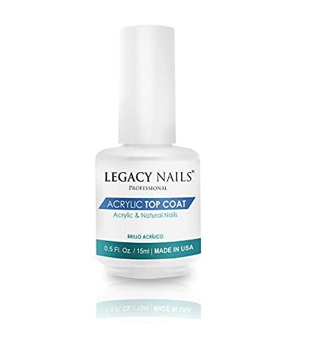 Legacy Nails Acrylic Top Coat 15ml / 0.5 FL.oz. Nail Top Coat & Sealer - Non-Yellowing - Dries Quickly - Long-Wear - Provides a Shiny Finish - Not Need UV/LED Light