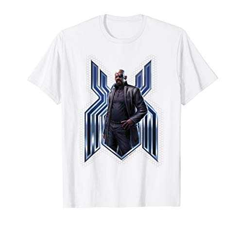 Marvel Spider-Man Far From Home Nick Fury Spider-Man Logo T-Shirt