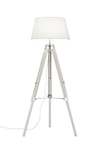 lightling modern Stehleuchte Tripod Lina mit Dreibein aus Holz, Stoffschirm weiß, 1 x E27 max. 60W ø 45 cm, Höhe 143 cm