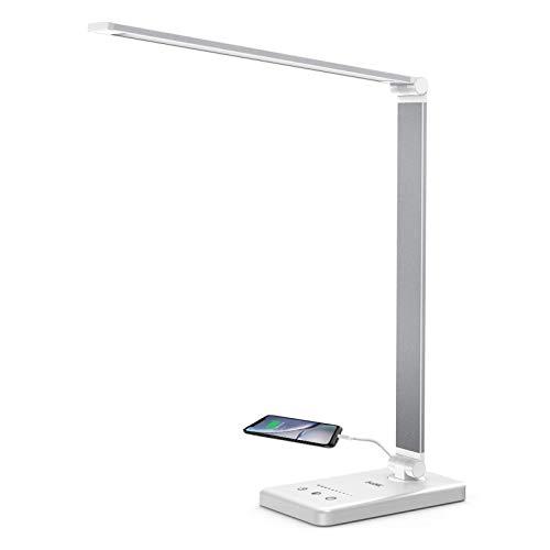 Lámpara Escritorio LED Lacmisc, Flexo de Escritorio, Lámparas de Mesa USB Regulable (5 Modos,10 Niveles de Brillo,Temporizador de 30/60min) Lámpara de Mesa,Lámpara de Oficina ⭐