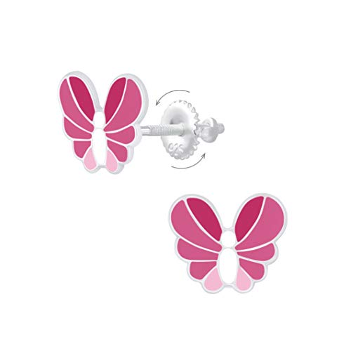 Laimons Pendientes infantiles de mariposa de 10 mm, color rosa, con cierre de rosca de plata de ley 925