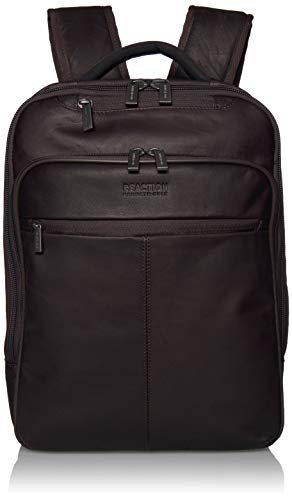 Kenneth Cole Reaction Manhattan Colombian Leather Laptop Backpack RFID Business, School, Travel Computer Bookbag, Brown, Slim