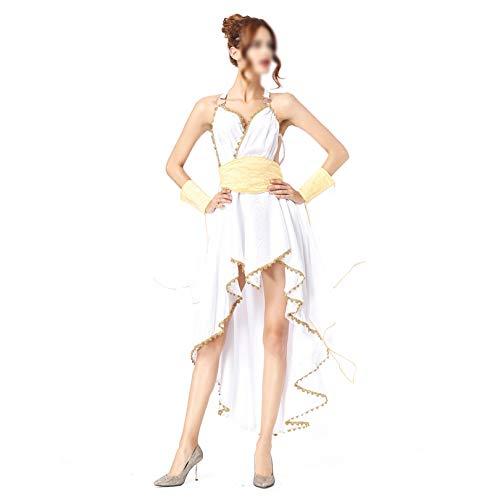 KIDsportxie Disfraz de diosa rabe griega para mujer, vestido de Atenea, falda vintage, vestido de Halloween, para fiesta de cumpleaos, talla nica, color blanco
