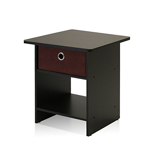 Furinno 10004EX/BR End Table/Night Stand Storage Shelf with Bin Drawer, Dark Espresso Finish