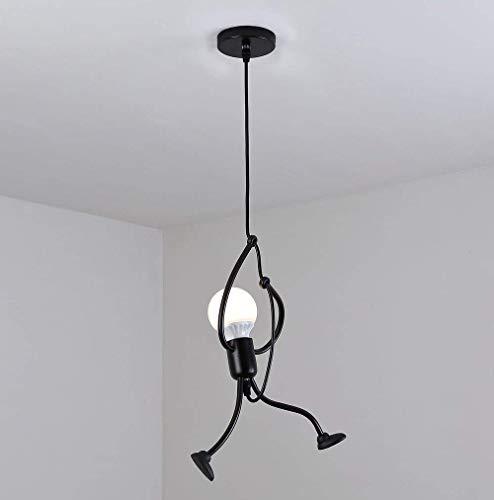 Pendelleuchte Schwarz Vintage Deckenleuchte- E27 Eisen Kronleuchter Modern Cartoon Hängeleuchte für Kinder Schlafzimmer Wohnzimmer Foyer Küche