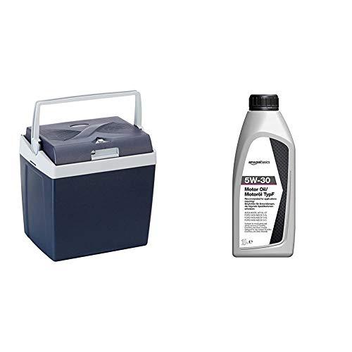 AmazonBasics Thermoelektrische Kühlbox mit Kühl- und Warmhaltefunktion - 26 Liter, 230V / 12V DC & Motoröl 5W-30 Typ F, 1 l