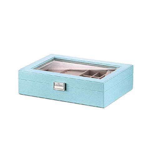 YXFYXF Schmuckkasten - Mehrere Fächer mit großem Make-up-Spiegel, der abnehmbaren Schicht und Einer tragbaren Stand-Alone-Box G (Color : Blue, Size : -)