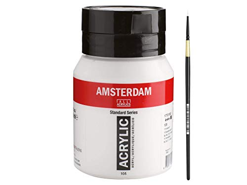 AMSTERDAM Acrylfarbe 500ml inkl. Detail - Synthetikpinsel Gr3/0 (105 Titanweiß)