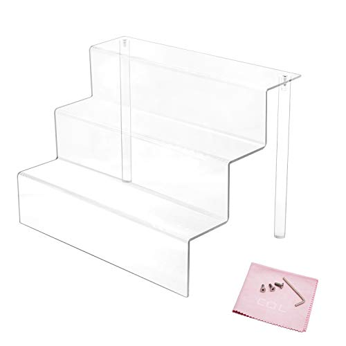 Combination of Life 3 Steps Acrylic Riser Display Shelf for Amiibo Funko Pops Figures Clear 12 inches W by 8.5 inches D