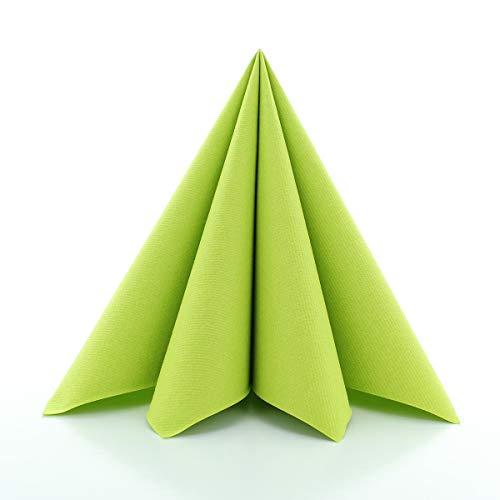 Sovie HORECA Airlaid-Servietten 40x40 cm | hochwertige Einweg-Servietten | extrem saugstark und stoffähnlich | ideal für Hochzeit & Partys | 50 Stück | Kiwi-Grün