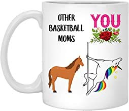 Theemok, 11 oz koffiemok, basketbal moeder geschenken voor vrouwen, mammie verjaardagscadeau van dochter zoon, grappige paal dans eenhoorn koffiemok witte keramische mok