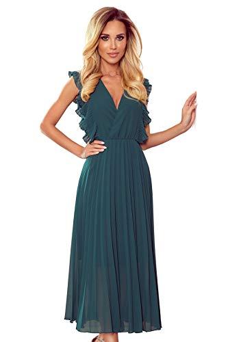 Numoco Plissiertes Chiffonkleid, Abendkleid, Maxikleid (Grün, XL)