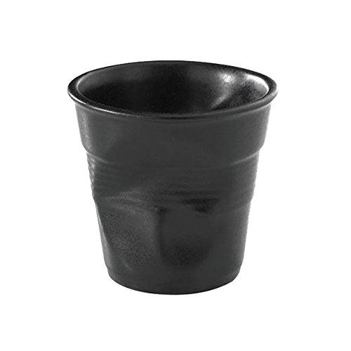 Revol RV001640 Tasse Espresso froissé, Porcelaine, Noir, 6,5 x 6,5 x 6 cm