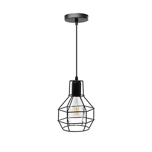 Lámpara colgante ajustable rústica para dormitorio Cocina Café Vintage Jaula de metal negro Luz colgante Led Edison Bombilla incluida Luz cálida 5W