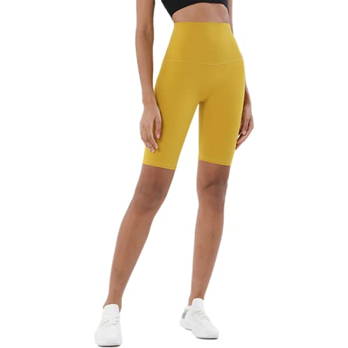 Señoras Verano sin línea de vergüenza Pantalones Cortos de Fitness Moda Cintura Alta Levantamiento de Cadera Pantalones de Yoga Ajustados de Cinco Puntos Medium