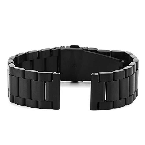 Correa de reloj de metal, banda de relojes de hombre de 20 mm de ancho para acero inoxidable de liberación rápida activa Samsung Galaxy(Negro)