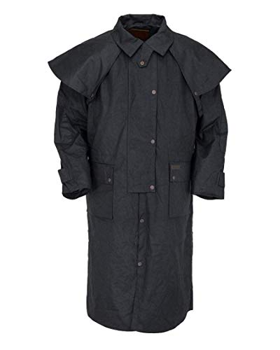 Outback Trading Unisex 2042 Low Rider Waterproof Breathable Full-Length Oilskin Duster Coat, Black, X-Large