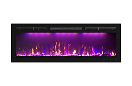 Mystflame 50 inch Electric Fireplace - Ultra Slim Frame - in Wall Recessed & Wall Mounted - Multicolor Flame - Log & Crystal Hearth - 1500/750 Watt Heater - Remote Control & Touch Screen - Timer