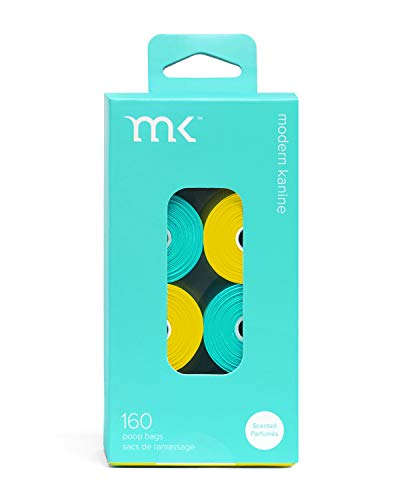 Modern Kanine 160Count Poop Bags Scented Dog Waste Bags Turquoise and Yellow