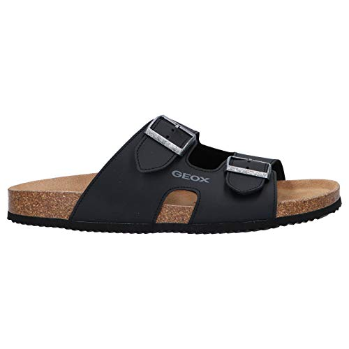 Geox Respira Men's U Sandal Ghita A Synthetic Leather Sandal (Black, Size 7)