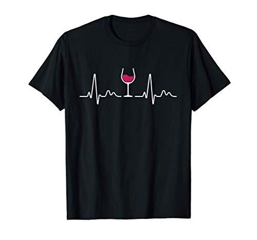 Vino Tinto Latido Del Corazón Copa De Vino Amante Del Vino Camiseta