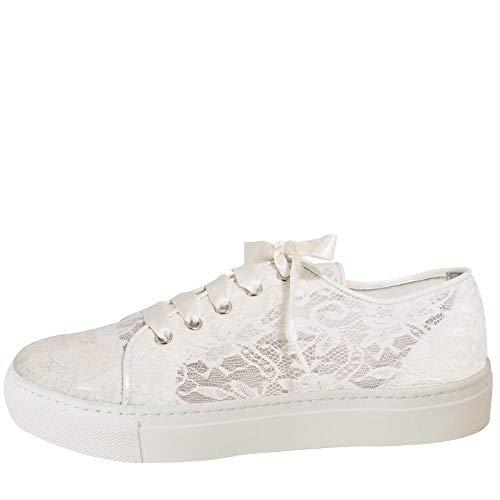Fiarucci bridal Braut Leder Sneaker Nelli Brautschuhe Rainbow 36-42 Schuhe Ivory Spitze (42 EU, Ivory)