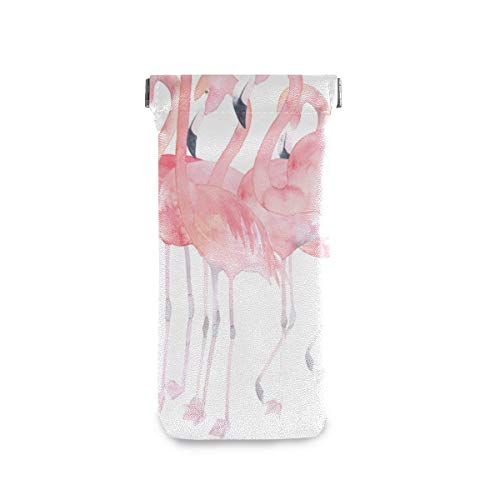 Acuarela Flamingos Gafas de Sol Estuche Anteojos Moneda Teléfono Bolsa de Maquillaje Cuero de PU Portátil Suave Delgado Gafas Soporte Microfibra Gafas Bolsa de Almacenamiento para Mujeres Hombres