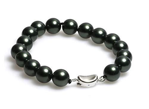 Schmuckwilli Muschelkernperlen Perlenarmband Perlen Armband schwarz Hochwertige 20cm mb1036-20 (10mm)