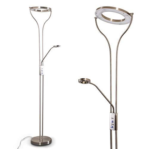 Lampadaire LED Donna avec lampe de lecture flexible et anneau pivotant - Luminaire argenté mat avec variateurs d'intensités indépendants - Parfait comme lampadaire sur pied de salon