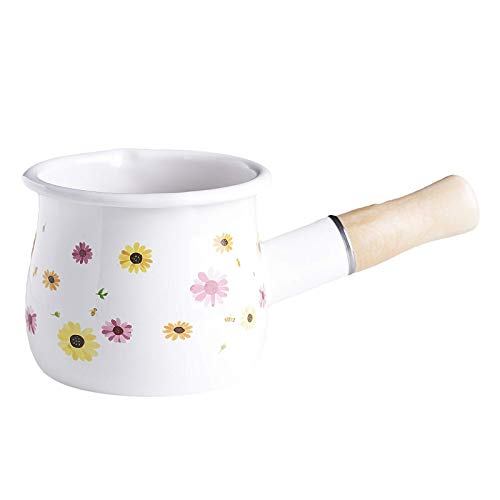 WYJW Home Enamelware 550ml Turkish Coffee Pot, Milk Pan, Sauce Sauce Pans, Kitchen Cooking Cookware - Flower