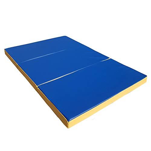 NiroSport Materassino di Caduta 150 x 100 x 8 cm Pieghevole Tappetino da Allenamento Tappetino da Ginnastica per Esercizi Fitness Stuoia Sportiva Gym Mat Impermeabile - Blu/Giallo