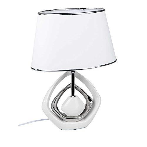 formano Tischlampe, Leuchte KARO H. 46cm weiß Silber Keramik