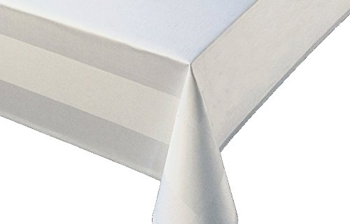 Ropa de mesa Mantel damasco blanco Ancho 130cm longitud a elegir–Blanco con 2bordes satinados., 100% algodón, weiß, 130x130