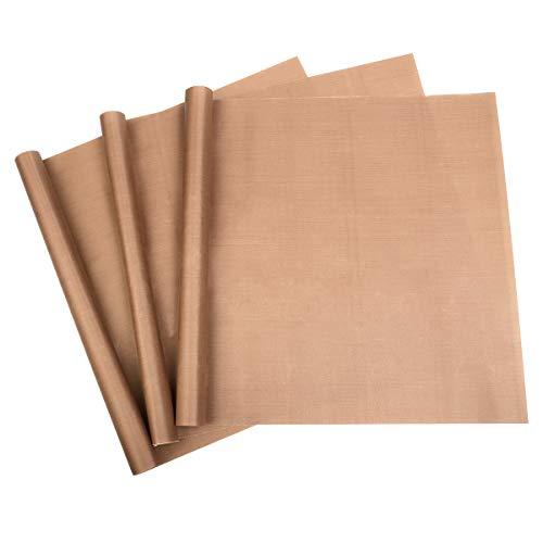 Zhichengbosi Lot de 3 feuilles de cuisson anti-adhésifs réutilisables en téflon lavables au lave-vaisselle 40 x 30 cm 40 x 30 cm café