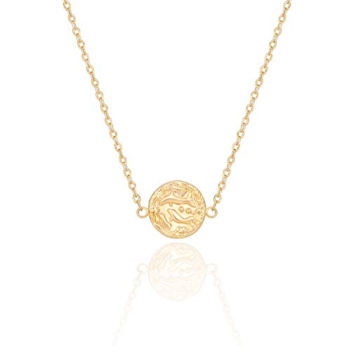PEARLADA 18K Gold Round Disc Necklace Adjustable Chain Choker for Women Minimalist Dolphins Charm Jewelry Handmade Pisces Pendant Necklace for Birthday Gift