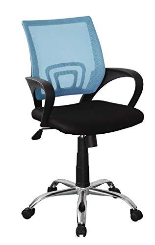 Home Source Metro Schreibtischstuhl mit Netz-Rückenlehne und Chromfuß, blau, Fabric Seat