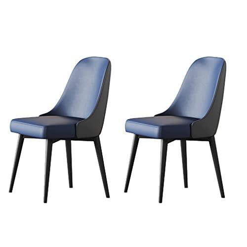 ADGEAAB Juego de 2 sillas de comedor, sillas de cocina con cojín de piel sintética, sillas de salón modernas de mediados de siglo con patas de metal (color azul+gris)