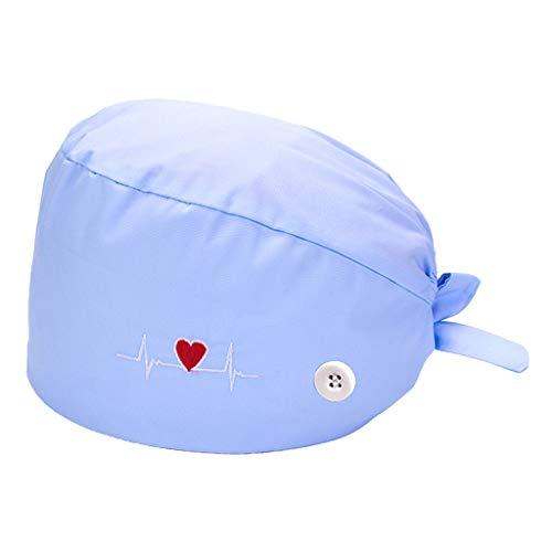 MagiDeal Gorros Suaves Estampados de Algodón Gorro de Turbante para Fregar Gorro de Fregar Ajustable con Banda para - Azul de bebé