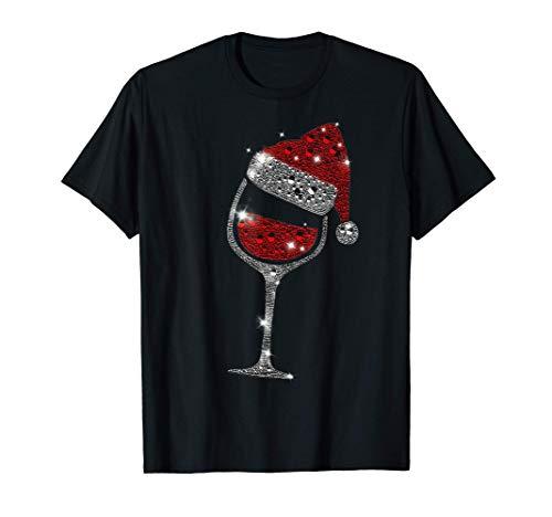 Glass of Red Wine Santa Hat Christmas For Men Women Family Camiseta