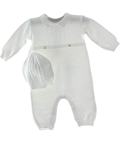 Baby Boys White Knit Coverall Set with Cap Newborn