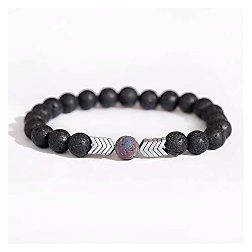 Pulsera de piedra, mujer, 7 chakra 8mm, perlas de piedra de lava natural de 8 mm, brazalete elástico, flecha de plata, joyería, oreja, yoga, energía, Difusor de encanto ilimitado Pulsera ajustable