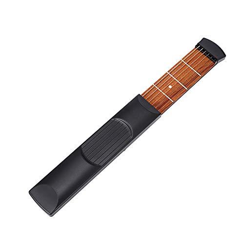 Mini-Taschengitarre aus Holz, tragbar, Akustikgitarre, Übungswerkzeug, Zubehör, Akkorde-Trainer, 6 Saiten, 6 Bünde, Modell für Anfänger