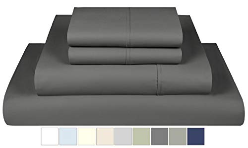 Threadmill Home Linen 600 Thread Count King Sheet Sets - 100% Extra-Long Staple Cotton Sheets for King Size Bed, Luxury 4 Piece Set with Deep Pocket, Smooth Solid Sateen Weave, Dark Grey